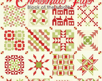 Christmas Figs Sampler Quilt Pattern - Figtree and Co - Moda Fabric - Quilt Pattern - Christmas Figs Fabric