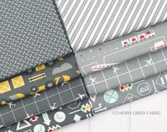 On the Go Grey Fat Quarter - Stacy Iest Hsu - Moda Fabrics - Car Fabric - Boy Fabric - Truck Fabric - 8 pieces