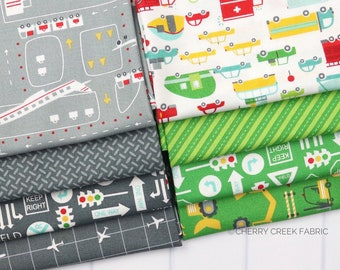 On the Go Green & Grey Fat Quarter - Stacy Iest Hsu - Moda Fabrics - Car Fabric - Boy Fabric - Truck Fabric - 8 pieces