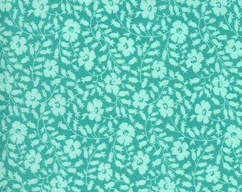 Aqua Flower Bed Fabric - Flowers for Freya - Linzee McCray - Moda Fabrics - Square Fabric - Floral Fabric - Flower Fabric - Sold by the Yard
