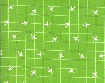 Green Airplane Fabric - On the Go - Stacy Iest Hsu - Moda Fabrics - Transportation Fabric - Airplane Fabric - Sold by the Yard