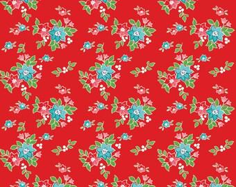 Seaside - Red Seaside Floral Fabric - Tasha Noel - Riley Blake Designs - Sold by the Yard