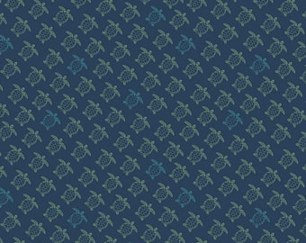 Offshore 2 Fabric - Navy Turtle Fabric - Deena Rutter - Riley Blake Designs - Turtle Fabric - Animal Fabric - Sold by the Yard