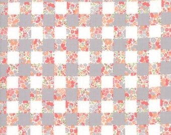 Strawberry Jam Fabric - Grey Gingham Garden Fabric - Corey Yoder - Moda Fabric - Floral Fabric - Flower Fabric - Fabric by the Yard