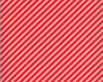 Red & Pink Stripe Fabric - Shine On Fabric - Bonnie and Camille - Moda Fabric - Binding Fabric - Bias Stripe Fabric - Sold by the Yard