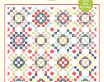 "O Happy Day Quilt Pattern - Cotton Way Pattern - Bonnie Olaveson - Bonnie and Camille - Jelly Roll Pattern - 76"" x 76"" Quilt"
