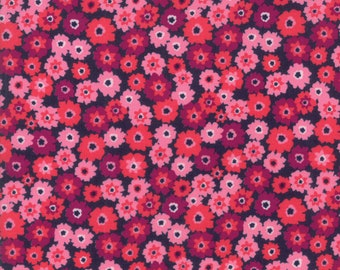 Rosa Fabric - Pink on Navy Flower Tarts Fabric - Crystal Manning - Moda Fabric - Floral Fabric - Flower Fabric - Sold by the Yard