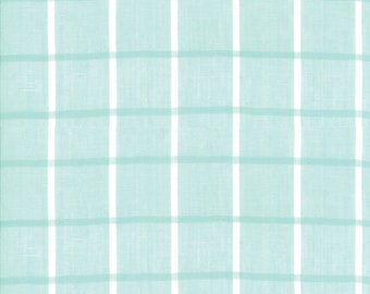 Aqua Windowpane  Woven Fabric - Bonnie and Camille Wovens - Moda Fabric - Plaid Fabric - Woven Fabric - Sold by the Yard