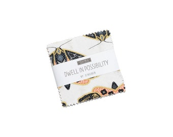 Dwell In Possibilities Mini Charm Pack - Gingiber - Moda Fabrics - Square Fabric - Floral Fabric - Flower Fabric - 42 pieces