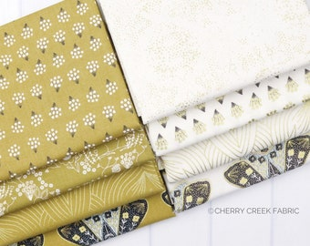 Dwell In Possibilities Gold Fat Quarter Bundle - Gingiber - Moda Fabrics - Metallic Fabric - Butterfly Fabric - Moth Fabric - 8 pieces