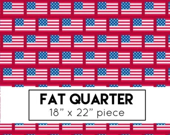 Fat Quarter | Patriotic Picnic Fabric - Red Flags Fabric - Doodlebug Designs