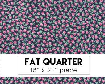 FAT QUARTER | Guest Room Fabric - Navy Tulips Fabric - Kristyne Czepuryk - Moda Fabric - Dots Fabric - Tulip Fabric - Navy Fabric