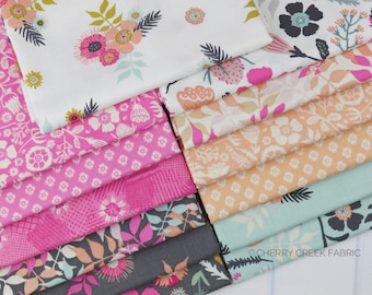 Meadow Lane Mini Fat Quarter Bundle - Meadow Lane - Sara Davies - Riley Blake Designs - Flower Fabric - Floral Fabric - 13 pieces