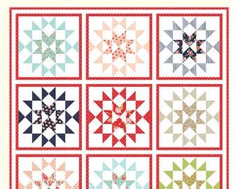 "First Crush Quilt Pattern - Bonnie Olaveson - Cotton Way - Moda Fabric - Smitten Fabric - 80"" x 80"" Quilt"