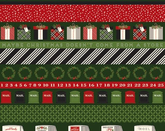 SALE | Green Christmas Stripe Fabric - Christmas Delivery Fabric - Carta Bella - Riley Blake Designs - Sold by the Yard