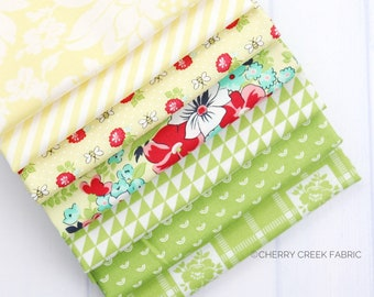 Shine On Yellow & Green Fat Quarter Bundle - Shine On Fabric - Bonnie and Camille - Moda Fabric - Flower Fabric - 7 pieces