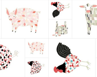 Farm Fresh Fabric Multi Panel - Gingiber - Moda Fabric - Farm Fabric - Pig Fabric - Cow Fabric - Chicken Fabric - Panel Fabric