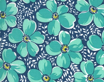 Navy Love Blossoms Fabric - Flowers for Freya - Linzee McCray - Moda Fabrics - Floral Fabric - Flower Fabric - Sold by the Yard