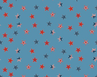 Celebrate America Fabric - Blue Stars Fabric - Echo Park Paper Co. - Riley Blake Designs - Patriotic Fabric - Sold by the Yard