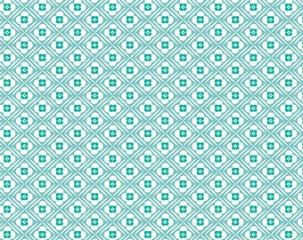 Blue Geometric Flower Fabric - Granny Chic - Lori Holt - Riley Blake Designs - Floral Fabric - Flower Fabric - Sold by the Yard