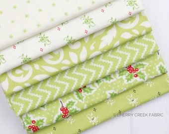 Christmas Figs II Green Fat Quarter Bundle - Fig Tree and Co - Moda Fabric - Holiday Fabric - Fabric Bundle - 6 pieces