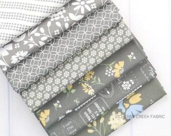 Spring Brook Grey Fat Quarter Bundle - Corey Yoder - Moda Fabrics - Floral Fabric - Fabric Bundle - 7 pieces