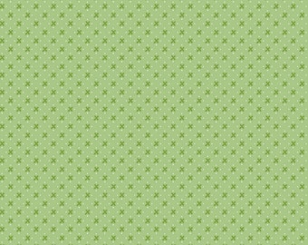 Green Kisses Fabric - Granny Chic - Lori Holt - Riley Blake Designs - Geometric Fabric - X Fabric - Sold by the Yard