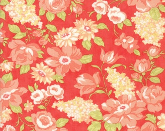FAT EIGHTH | Farmhouse II Fabric - Red Blooms Fabric - Fig Tree & Co - Moda Fabric - Floral Fabric - Flower Fabric