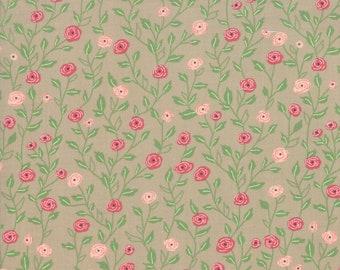 FAT QUARTER | Tan Floral Vine Fabric - Bloomington Fabric - Lella Boutique - Moda Fabrics - Fabric Bundle - Flower Fabric