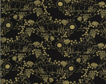 Black Meadow Deer Fabric - Dwell In Possibilities - Gingiber - Moda Fabrics - Deer Fabric - Flower Fabric - Sold by the Yard