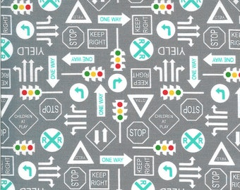Gray It's a Sign Fabric - On the Go - Stacy Iest Hsu - Moda Fabrics - Tractor Fabric - Construction Fabric - Sold by the Yard