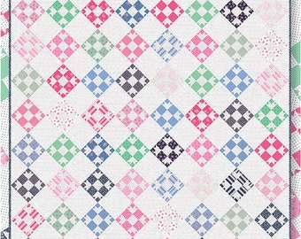 "Dear Doris Quilt Pattern - Pretty By Hand - Moda Fabrics - Fat Eighth Pattern - 68"" x 76.5"" Quilt"