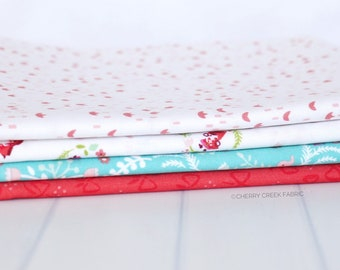 Little Red in the Woods Turquoise One Yard Bundle - Jill Howarth - 4 pieces