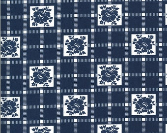 Navy Check Fabric - Shine On Fabric - Bonnie and Camille - Moda Fabric - Flower Fabric - Geometric Fabric - Sold by the Yard