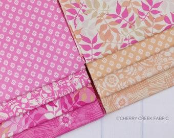 Meadow Lane Melon & Pink Fat Quarter Bundle - Meadow Lane - Sara Davies - Riley Blake Designs - Flower Fabric - Floral Fabric - 8 pieces