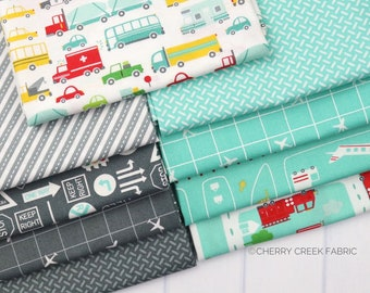 On the Go Grey & Aqua Fat Quarter - Stacy Iest Hsu - Moda Fabrics - Car Fabric - Boy Fabric - Truck Fabric - 9 pieces
