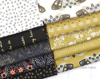 Dwell In Possibilities Black & Gold Fat Quarter Bundle - Gingiber - Moda Fabrics - Metallic Fabric - Moth Fabric - 10 pieces