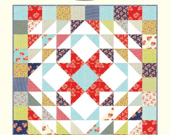 "Cozy Quilt Pattern - Bonnie Olaveson - Cotton Way - Moda Fabric - Miss Kate Fabric - Layer Cake Pattern - 90"" x 90"" Quilt"