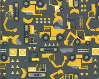 Dark Gray Let's Build Fabric - On the Go - Stacy Iest Hsu - Moda Fabrics - Tractor Fabric - Construction Fabric - Sold by the Yard