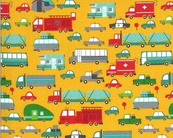 Yellow Beep Beep Fabric - On the Go - Stacy Iest Hsu - Moda Fabrics - Car Fabric - Boy Fabric - Truck Fabric - Sold by the Yard