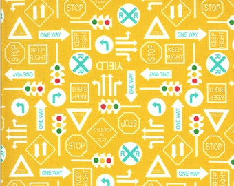 Yellow It's a Sign Fabric - On the Go - Stacy Iest Hsu - Moda Fabrics - Tractor Fabric - Construction Fabric - Sold by the Yard