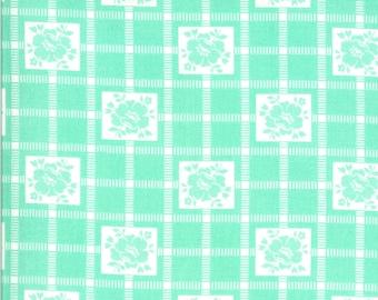 Aqua Check Fabric - Shine On Fabric - Bonnie and Camille - Moda Fabric - Flower Fabric - Geometric Fabric - Sold by the Yard
