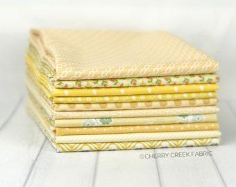 Yellow Half Yard Fabric Bundle - Moda Fabric & Riley Blake Designs - Yellow Fabric Bundle - 10 pieces