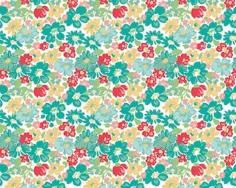Aqua Vintage Floral Fabric - Vintage Happy 2 - Lori Holt