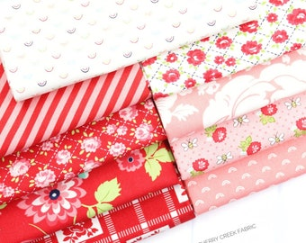Shine On Red & Pink Fat Quarter Bundle - Shine On Fabric - Bonnie and Camille - Moda Fabric - Flower Fabric - 9 pieces