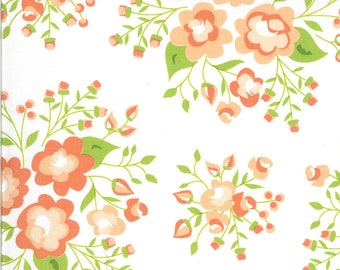Apricot & Ash Fabric - White Rose Garden Fabric - Corey Yoder - Moda Fabrics - Floral Fabric - Flower Fabric - Sold by the Yard