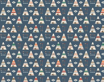 SALE | High Adventure 2 - Blue Teepee Fabric - Design by Dani - Sold by Half Yard - Sold by the Yard