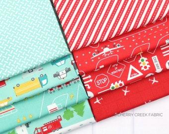 On the Go Red & Aqua Fat Quarter - Stacy Iest Hsu - Moda Fabrics - Car Fabric - Boy Fabric - Truck Fabric - 8 pieces