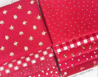 Red Fat Quarter Bundle - 10 pieces