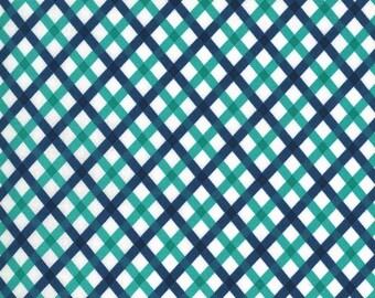 Navy Picnic Fabric - Flowers for Freya - Linzee McCray - Moda Fabrics - Geometric Fabric - Aqua Fabric - Flower Fabric - Sold by the Yard